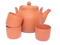 Théière et trois tasses pour le thé Photos libres de droits