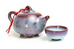Théière et tasses de thé Images libres de droits