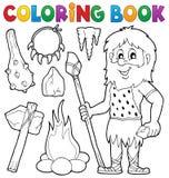 Thématique préhistorique 1 de livre de coloriage illustration de vecteur