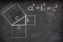 Théorème pythagorien sur le tableau noir photographie stock libre de droits