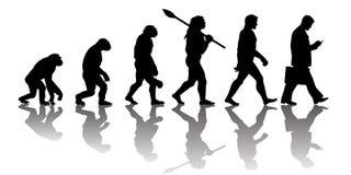 Théorie de l'évolution de l'homme Silhouette avec la réflexion illustration libre de droits