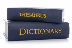 Thésaurus et dictionnaire d'isolement sur le blanc photographie stock libre de droits