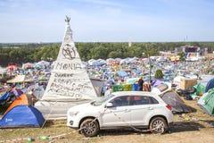 21th伍德斯托克节日的波兰帐篷村庄 免版税图库摄影