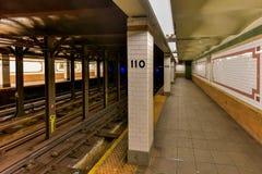 110th街道地铁站- NYC 图库摄影