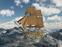 18th århundradekorvett i det stormiga havet Arkivbilder