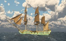 18th århundradekorvett i det stormiga havet stock illustrationer