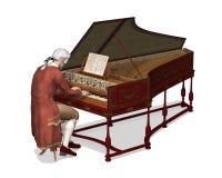 18th århundrademan som spelar cembalon Arkivfoto