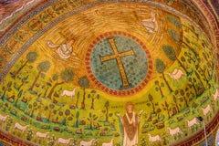 6th århundrademosaiker i basilika i Italien Fotografering för Bildbyråer