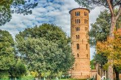 6th århundrademosaiker i basilika i Italien Arkivfoto