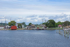 19th århundradeseglingskepp och flodstrandwharfs Fotografering för Bildbyråer