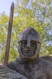 11th århundradesoldat Sculpture på stridabbotskloster Arkivbild