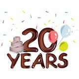 20th årsårsdagkort med kakan Arkivbild