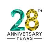28th årsdagår gör sammandrag den moderna fulla sänkan för triangeln stock illustrationer