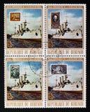 60th årsdag av stämplarna för Oktober revolutionserie, circa 1977 Royaltyfri Foto