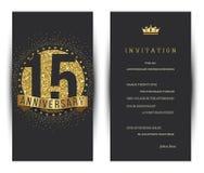 15th årsdag dekorerad mall för hälsningkort Royaltyfria Foton