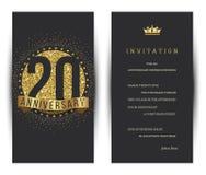 20th årsdag dekorerad mall för hälsningkort Arkivbilder
