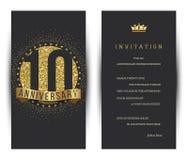 10th årsdag dekorerad mall för hälsningkort Royaltyfri Fotografi