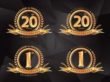 1. 20th årsdag som firar klassisk logodesignprem Vektor Illustrationer
