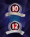 10th 12th årsdag som firar klassisk logodesignsil vektor illustrationer