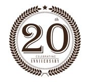 20th årsdag som firar logo på vit bakgrund Stock Illustrationer