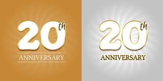 20th årsdagbakgrund - 20 år berömguld och silver Royaltyfri Foto