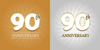 90th årsdagbakgrund - 90 år berömguld och silver stock illustrationer