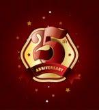 25th årsdagemblem med det röda bandet på abstrakt bakgrund Royaltyfri Fotografi
