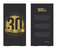 30th årsdagkort med guld- beståndsdelar stock illustrationer