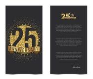 25th årsdagkort med guld- beståndsdelar royaltyfri illustrationer