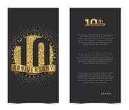 10th årsdagkort med guld- beståndsdelar Royaltyfri Foto