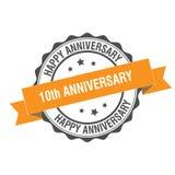10th årsdagstämpelillustration Arkivfoton
