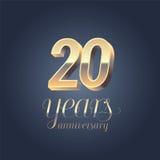 20th årsdagvektorsymbol, logo Arkivbilder