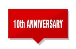 10th бирка красного цвета годовщины иллюстрация штока