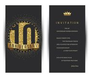 10th годовщина украсила шаблон поздравительной открытки Стоковая Фотография RF