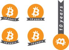 10th годовщина Bitcoin иллюстрация вектора