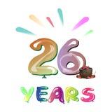 26th годовщина поздравительной открытки лет Стоковые Изображения RF