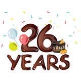 26th годовщина поздравительной открытки лет Стоковые Фото