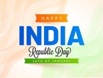 26th -го январь, счастливое знамя или плакат торжества дня республики Индии иллюстрация штока