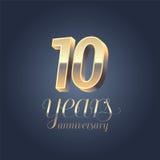 10th значок годовщины, логотип Стоковое фото RF