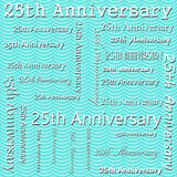 25th дизайн годовщины с картиной Repe плитки нашивок Teal волнистой Стоковое Изображение