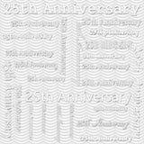 25th дизайн годовщины с серой волнистой картиной Repe плитки нашивок Стоковые Фото