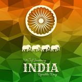 26th из Индии -го текста дня республики в январе на триангулярной предпосылке Стоковые Фото