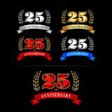 25th комплект шаблона дизайна торжества годовщины лет Изолированный дизайн иллюстрации вектора Серебр, синь, золото, красные верс иллюстрация штока