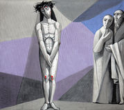 10th крестный путь, Иисус обнажан его одежд Стоковые Изображения