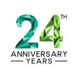 24th леты годовщины резюмируют col треугольника современный полный иллюстрация вектора