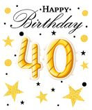 40th логотип с днем рождений Красивый плакат поздравительной открытки с фейерверками золота слова каллиграфии нарисованная констр Стоковое Фото
