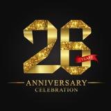 26th логотип торжества лет годовщины Золотое число ленты логотипа и красная лента на черной предпосылке бесплатная иллюстрация