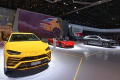 88th мотор-шоу 2018 Женевы международное - стойка Lamborghini стоковое изображение