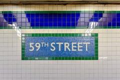 59th станция улицы - метро NYC Стоковые Изображения