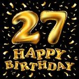 27th торжество дня рождения с воздушными шарами золота и красочными яркими блесками confetti дизайн для вашей поздравительной отк Стоковое фото RF